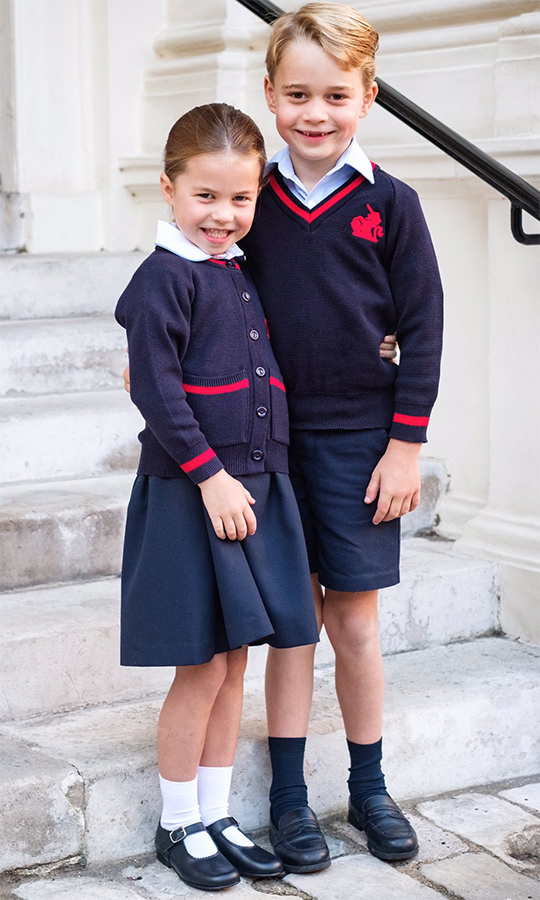 Before they set off for the big day, Charlotte and George posed for this adorable portrait!