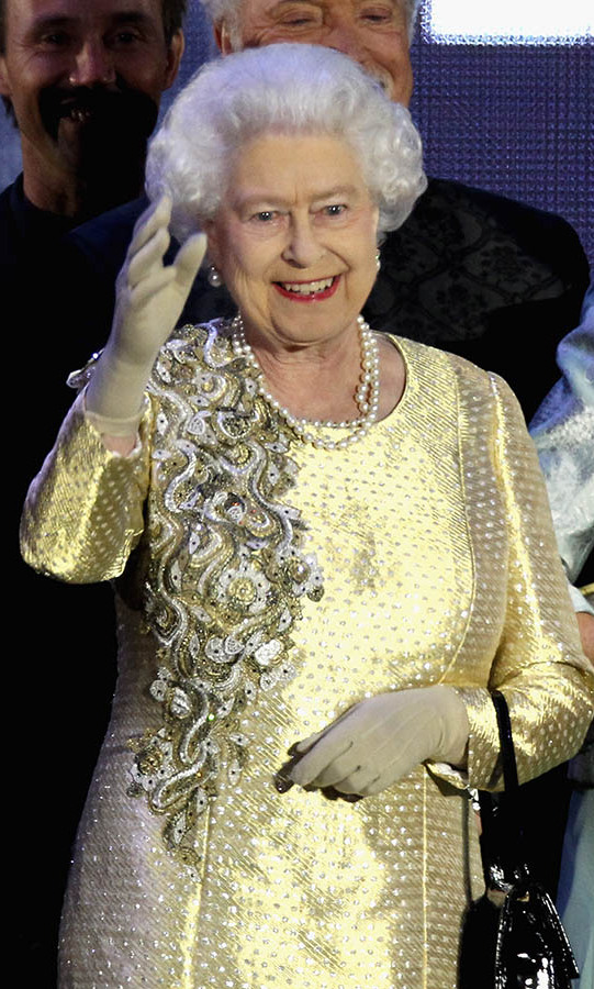 "<h2>Buckingham Palace, 2012</h2></p><p>The Queen absolutely dazzled during the <a href=""https://ca.hellomagazine.com/tags/0/diamond-jubilee/"" target=""_blank""><strong>Diamond Jubilee</strong></a> concert at Buckingham Palace on June 4. This ornate gold gown with rich embellishment and jewels was a worthy piece for the monarch to celebrate the 60th anniversary of her ascension to the throne.</p><p>Photo: © Dan Kitwood/Getty Images"