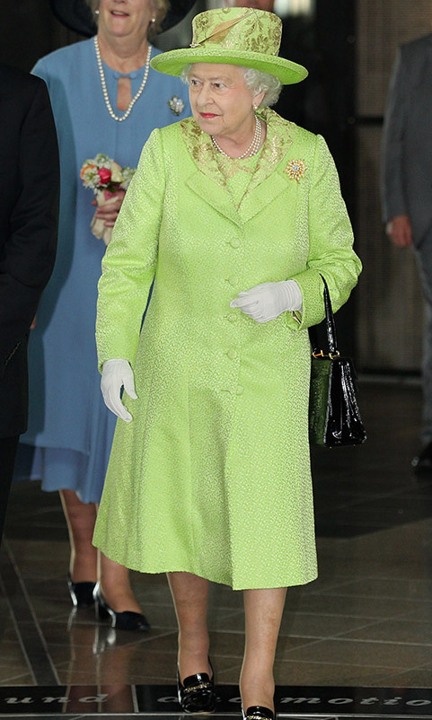 <h2>Belfast, 2012</h2></p><p>Is there any colour that the Queen cannot pull off? It doesn't appear to be so. She delighted in zesty green at the new Titanic Building on June 27 in Belfast. The look was made even more dynamic with the textured, sheeny fabric and ornate gold embroidery.</p><p>Photo: © Chris Jackson/Getty Images