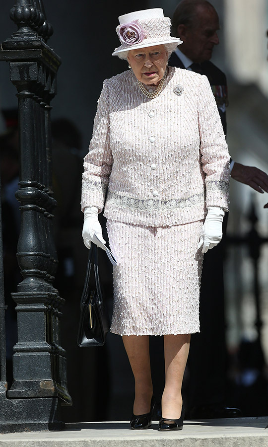 <h2>St Martin-in-the-Fields, 2015</h2></p><p>It's easy to get swept away with the detail in this exquisite ensemble the Queen wore to the 70th anniversary of VJ Day service  at St Martin-in-the-Fields on Aug.15. Every seam and bead placement is exact for a head-turning finish.</p><p>Photo: © Danny Martindale/WireImage