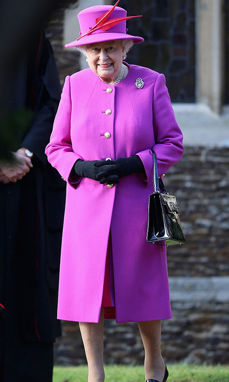 "<h2>Sandringham, 2014</h2></p><p>Much care goes into <a href=""https://ca.hellomagazine.com/royalty/02019122354174/the-queens-christmas-speech-outfit-makeup-details"" target=""_blank""><strong>developing the Queen's Christmas outfits</strong></a>. At the Christmas Day Service at <a href=""https://ca.hellomagazine.com/tags/0/sandringham"" target=""_blank""><strong>Sandringham</strong></a>, well-wishers could easily spot the monarch in this fuchsia coat and hat. As per usual, she finished the look with her loafers and black Launer bag.</p><p>Photo: © Chris Jackson/Getty Images"