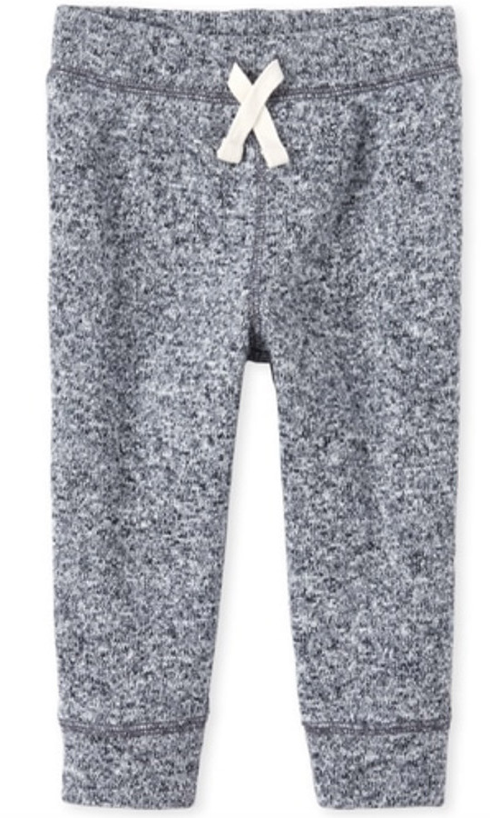 "These grey joggers are easy to slip on and the perfect pants for active babies! The style boasts banded leg cuffs and a non-functional drawstring at the elasticized waistband.</p><p>Baby And Toddler Boys Active Sweater Fleece Jogger Pants, $11.48, <a href=""https://www.childrensplace.com/ca/p/Baby-And-Toddler-Boys-Active-Sweater-Fleece-Jogger-Pants-3005749-01"" target=""_blank"">Children's Place</a></p><p>Screenshot via childrensplace.com"