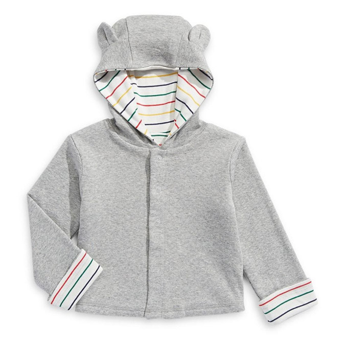 "This HBC Stripes hooded cardigan has a similar effect as Archie's coat! And it offers double the versatility because it is reversible! The pure cotton style is solid grey on one side and white with different coloured stripes on the other.</p><p>HBC Stripes Baby's Reversible Hooded Cardigan, $41.30, <a href=""https://www.thebay.com/hbc-stripes-babys-reversible-hooded-cardigan/product/0600090951360?FOLDER%3C%3Efolder_id=2534374302025866&R=400909513623&P_name=HBC+Stripes&N=302025866&bmUID=mZBq3a."" target=""_blank"">Hudson's Bay</a></p><p>Screenshot via thebay.com"