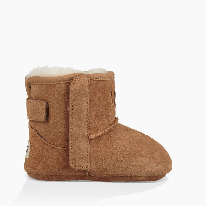 "These teeny-tiny chestnut brown <strong>UGG</strong> boots are from the same brand as Archie's boots. They have a hook-and-loop closure at the side which makes getting them on and off easier. And the natural wool lining keeps toes warm!</p><p>Jesse II Booties, $55.25, <a href=""https://www.ugg.com/ca/kids-baby-footwear/jesse-ii-bootie/1018141I.html#start=3&cgid=baby"" target=""_blank"">UGG</a></p><p>Screenshot via ugg.com"