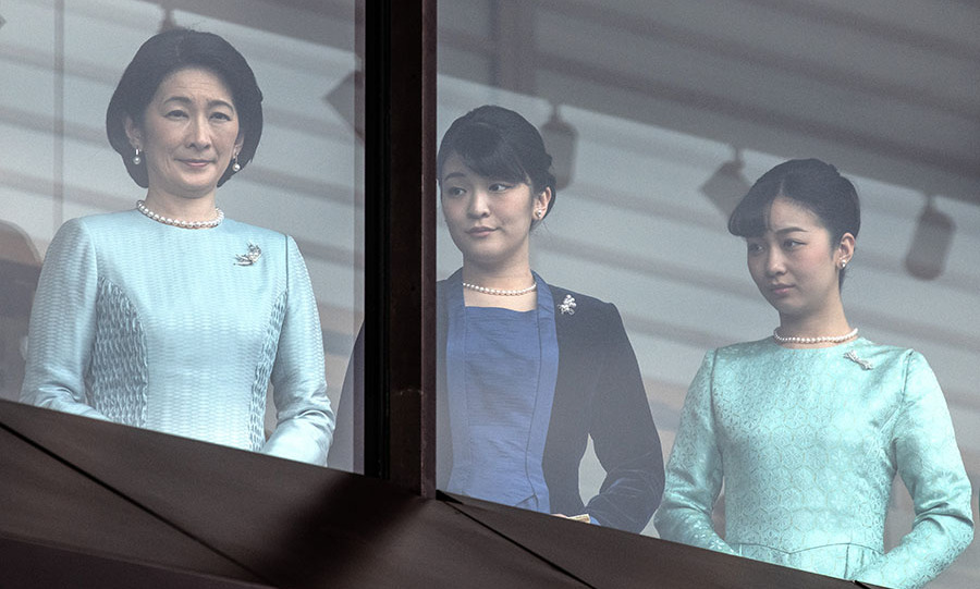"Also at the event at the Imperial Palace were <strong>Crown Princess Kiko</strong> and daughters <strong>Princess Mako </strong>and <strong>Princess Kako</strong>. All three of the <a href=""https://ca.hellomagazine.com/tags/0/japanese-royals"" target=""_blank""><strong>Japanese royals</strong></a> coordinated in tones of blue. Mako (centre) had the darkest look with her black and deep blue ensemble, while Kiko favoured icy blue and Kako a brocade seafoam number.</p><p>Photo: © Carl Court/Getty Images"