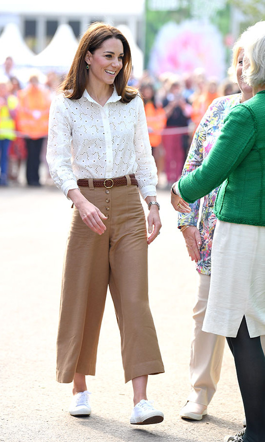 "<h2>RHS Chelsea Flower Show, May 20</h2></p><p>In 2019, Kate showed how she can gracefully carry off all kinds of trousers. At her <a href=""https://ca.hellomagazine.com/royalty/02019052151523/funny-way-prince-william-the-queen-greeted-each-other-chelsea-flower-show"" target=""_blank""><strong>Back to Nature Garden at the RHS Chelsea Flower Show 2019</strong></a> in London on May 20 she wowed in light brown <strong><a href=""https://ca.hellomagazine.com/tags/0/massimo-dutti"">Massimo Dutti</a></strong> culottes with a white eyelet <strong>M.i.h. Jeans </strong>blouse and classic white <a href=""https://ca.hellomagazine.com/tags/0/superga"" target=""_blank""><strong>Superga</strong></a> sneakers.</p><p>Photo: © Karwai Tang/WireImage"