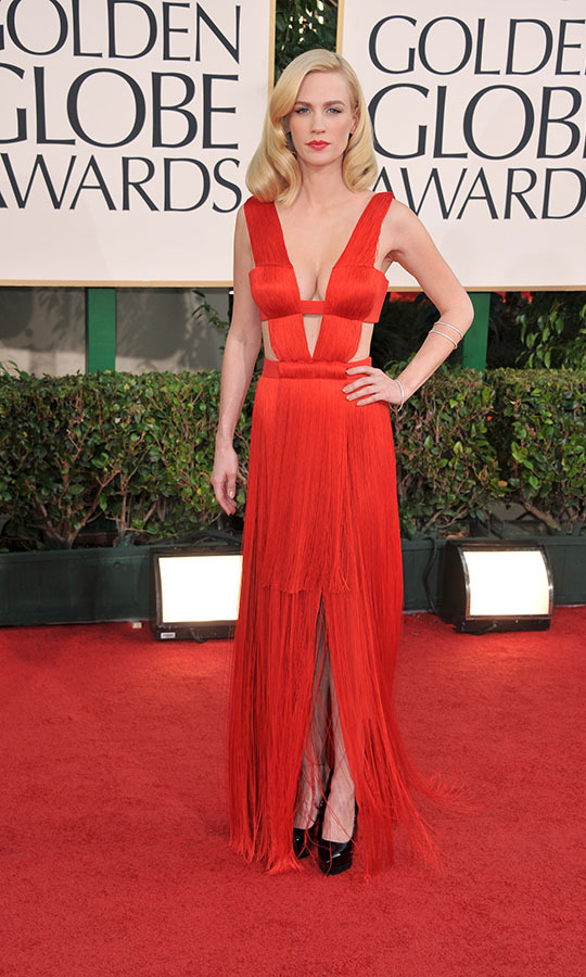 "<h2>January Jones, 2011</h2><p>There have been some iconic red dresses throughout the history of the Golden Globes and <a href=""https://ca.hellomagazine.com/tags/0/january-jones"" target=""_blank""><strong>January Jones</strong></a>'s plunging <a href=""https://ca.hellomagazine.com/tags/0/versace"" target=""_blank""><strong>Versace</strong></a> gown from the 2011 ceremony is included. It was a knockout look from the bold colour and cutouts. She elevated the dress by styling it with Old Hollywood hair and matching red lipstick.</p><p>Photo: © George Pimentel/WireImage"