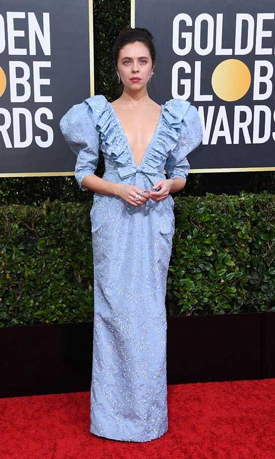 <strong>Bel Powley</strong> had a romantic moment in a pale blue <a href=/tags/0/miu-miu><strong>Miu Miu</strong></a> gown with ruffles, bow and exaggerated sleeves! <p>Photo: &copy; VALERIE MACON/AFP via Getty Images