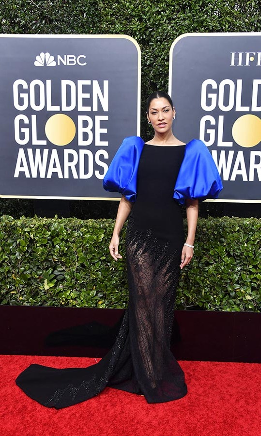 <strong><a href=/tags/0/janina-gavankar>Janina Gavankar</a></strong>'s contrasting blue sleeves and glittering hem enlivened her black dress.