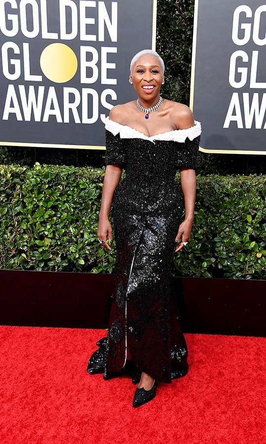 <strong><a href=/tags/0/cynthia-erivo>Cynthia Erivo</a></strong> shimmered in a custom black and white <strong><a href=/tags/0/thom-browne>Thom Browne</a></strong> gown! </strong><p>Photo: &copy; Frazer Harrison/Getty Images