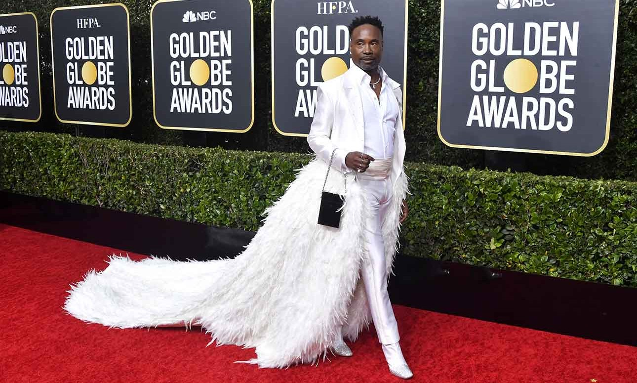 <a href=/tags/0/billy-porter><strong>Billy Porter</strong></a> slayed in a dramatic white look with feathered skirt!<p>Photo: &copy; Frazer Harrison/Getty Images