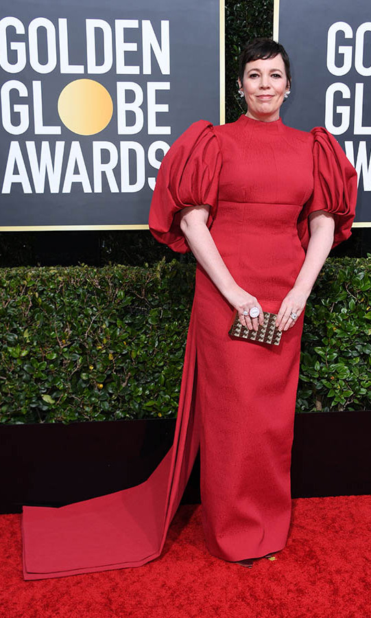 <strong><em>The Crown</em></strong>'s <a href=/tags/0/olivia-colman><strong>Olivia Colman</strong></a> looked regal in red.<p>Photo: &copy; Getty Images