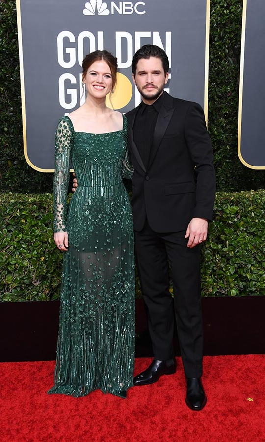 Former <strong><em>Game of Thrones</em></strong> co-stars and real life partners <strong><a href=/tags/0/rose-leslie>Rose Leslie</strong></a> and <a href=/tags/0/kit-harington><strong>Kit Harington</strong></a> looked sweet on the carpet as they posed arm-in-arm. <p>Photo: &copy; Jon Kopaloff/Getty Images