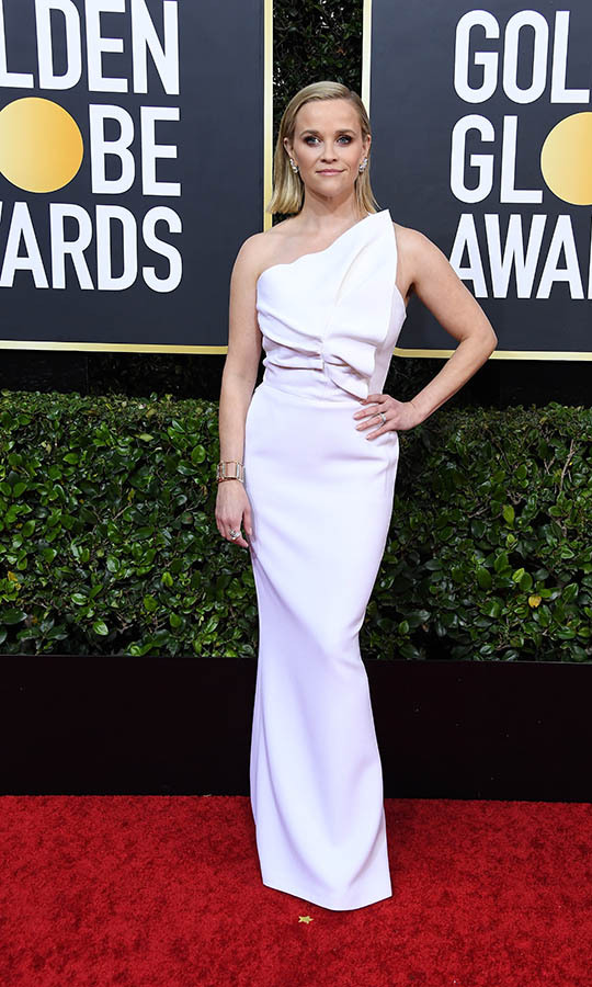 <a href=/tags/0/reese-witherspoon><strong>Reese Witherspoon</strong></a> looked fresh in a white sculptural dress. <p>Photo: &copy; Steve Granitz/WireImage