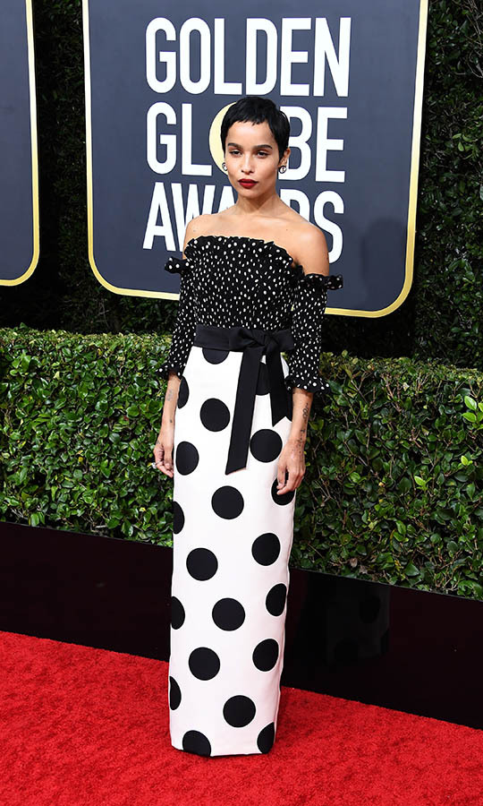 <a href=/tags/0/zoe-kravitz><strong>Zoe Kravitz</strong></a> showed her spots in a monochromatic gown. <p>Photo: &copy; Steve Granitz/WireImage