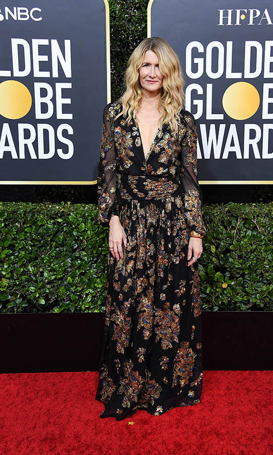 <a href=/tags/0/laura-dern><strong>Laura Dern</strong></a> brought some bohemian beauty to the carpet with a <a href=/tags/0/saint-laurent><strong>Saint Laurent</strong></a> black gown with bronze florals. <p>Photo: &copy; Steve Granitz/WireImage