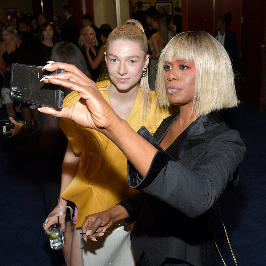 <a href=/tags/0/laverne-cox><strong>Laverne Cox</a></strong> posed for a selfie with <i>Euphoria</i> star <strong>Hunter Schafer</strong>. Hunter is a rising trans star, and Laverne is one of Hollywood's biggest trans trailblazers.
