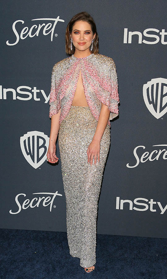 <a href=/tags/0/ashley-benson><strong>Ashley Benson</strong></a> shone brightly in a glittering striped gown with cutout detail at the 21st Annual InStyle and Warner Bros. Pictures Golden Globe after-party. <p>Photo: © JEAN-BAPTISTE LACROIX/AFP via Getty Images