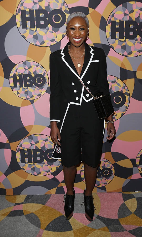 After the Golden Globes ceremony, <a href=/tags/0/cynthia-erivo><strong>Cynthia Erivo</strong></a> changed into another striking monochromatic look to attend HBO's Official Golden Globes after-party. <p> Photo: © Michael Tran/FilmMagic