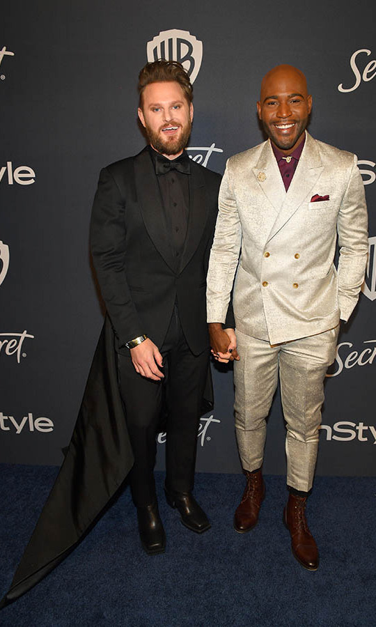 <em>Queer Eye</em>'s <a href=/tags/0/bobby-berk><strong>Bobby Berk</strong></a> and <a href=/tags/0/karamo-brown><strong>Karamo Brown</strong></a> contrasted their suits to great effect at the 2020 InStyle and Warner Bros. 77th Annual Golden Globe Awards post-party. <p>Photo: © Matt Winkelmeyer/Getty Images for InStyle