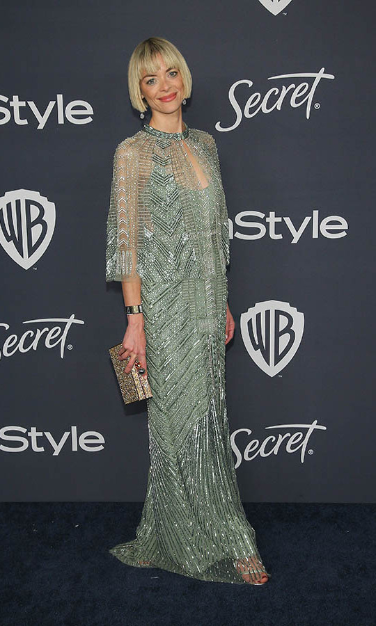 <a href=/tags/0/jaime-king><strong>Jaime King</strong></a> had a retro moment at the 21st Annual Warner Bros. and InStyle Golden Globe after-party with her beaded dress and cape! With her bob haircut, it was the perfect look to celebrate 2020! <p>Photo: © Jemal Countess/FilmMagic