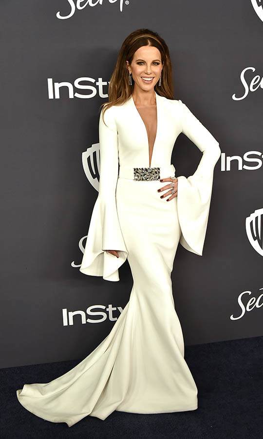 <a href=/tags/0/kate-beckinsale><strong>Kate Beckinsale</strong></a> looked regal at the Warner Brothers and InStyle 21st Annual Post Golden Globes after-party in a white gown. <p>Photo: © David Crotty/Patrick McMullan via Getty Images