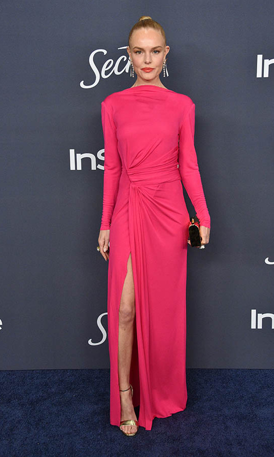 There was no missing <a href=/tags/0/kate-bosworth><strong>Kate Bosworth</strong></a> in her hot, hot pink <a href=/tags/0/prabal-gurung><strong>Prabal Gurung</strong></a> gown with equally vivid lipstick at the InStyle Golden Globe after-party. <p>Photo: © Gregg DeGuire/WireImage