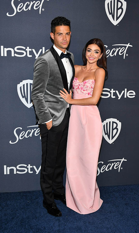 <strong>Wells Adams</strong> and <a href=/tags/0/sarah-hyland><strong>Sarah Hyland </strong></a> were so sweet at the 21st Annual Warner Bros. and InStyle Golden Globe after-party. Her pink gown popped against his grey velvet blazer! <p>Photo: © Amy Sussman/Getty Images