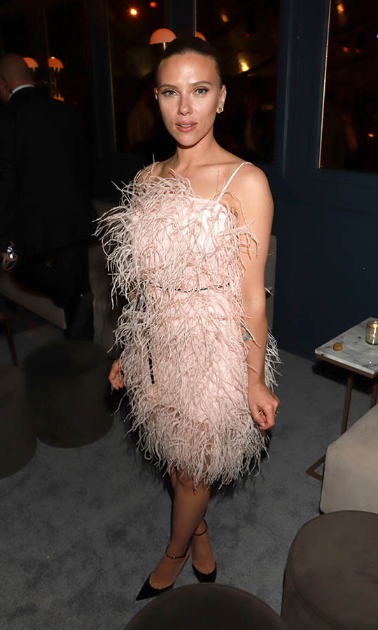 <a href=/tags/0/scarlett-johansson><strong>Scarlett Johansson</strong></a>'s feathered frock captured the essence of a party dress at the Netflix 2020 Golden Globes after-party. <p>Photo: © Arnold Turner/Getty Images for Netflix
