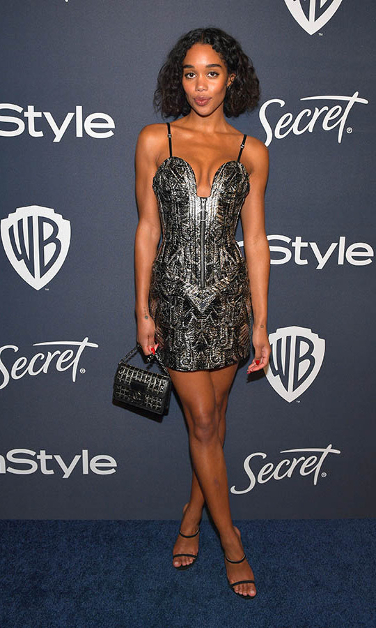<a href=/tags/0/laura-harrier><strong>Laura Harrier</strong></a> showed some leg in a dazzling mini dress by <a href=/tags/0/louis-vuitton><strong>Louis Vuitton</strong></a> at the 2020 InStyle and Warner Bros. 77th Annual Golden Globe Awards post-party. <p> Photo: © Matt Winkelmeyer/Getty Images for InStyle