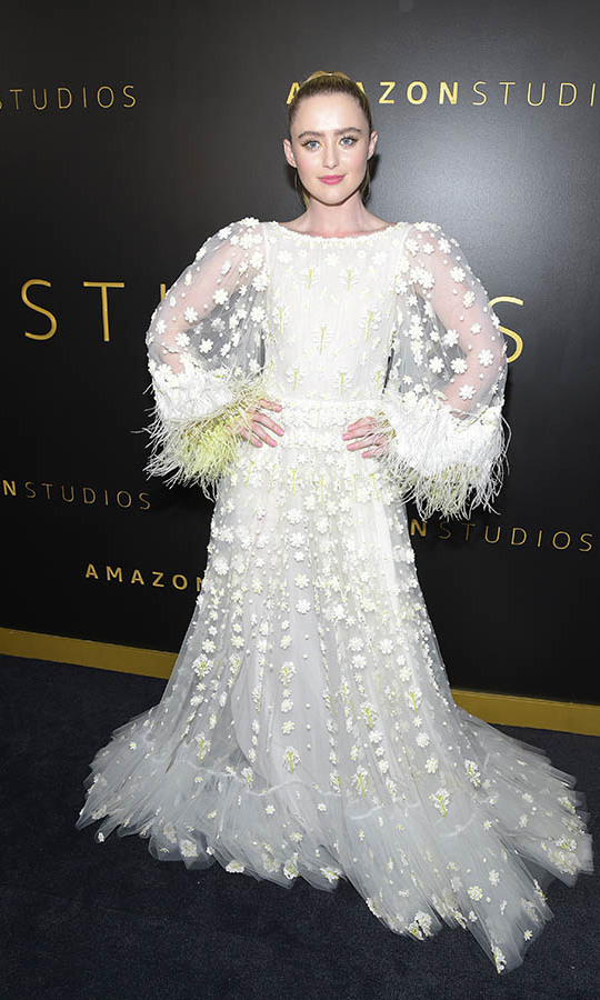 Wow! <a href=/tags/0/kathryn-newton><strong>Kathryn Newton</a></strong> made an ethereal statement at the Amazon Studios Golden Globes after-party in a feathered <a href=/tags/0/valentino><strong>Valentino</strong></a> gown. <p>Photo: © Michael Tullberg/FilmMagic