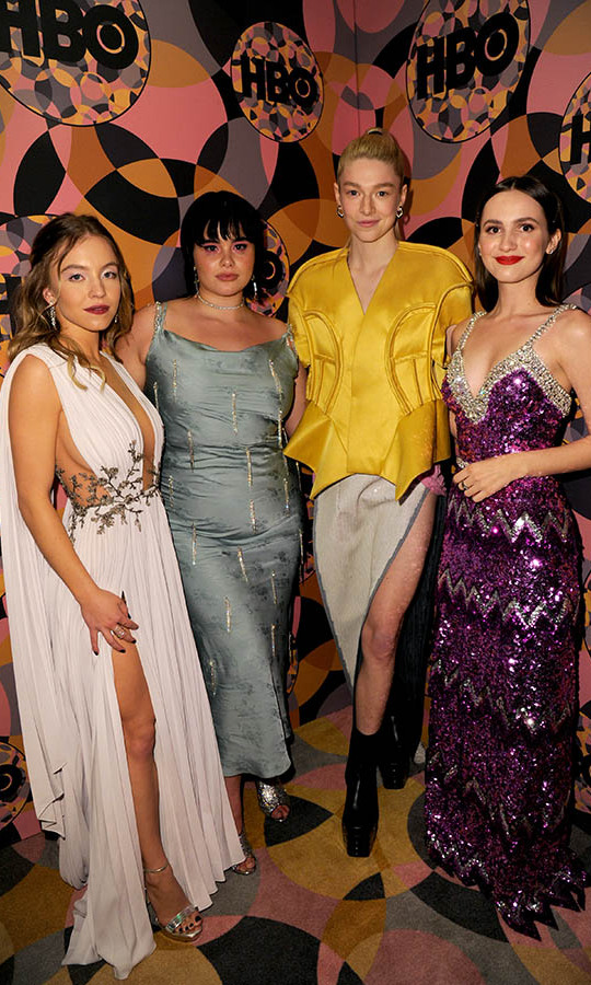 <em>Euphoria</em> co-stars <strong>Sydney Sweeney</strong>, <strong>Barbie Ferreira</strong>, <strong>Hunter Schafer</strong> and <strong>Maude Apatow</strong> all showcased their individual styles at HBO's Official 2020 Golden Globe Awards after-party. <p> Photo: © FilmMagic/FilmMagic for HBO
