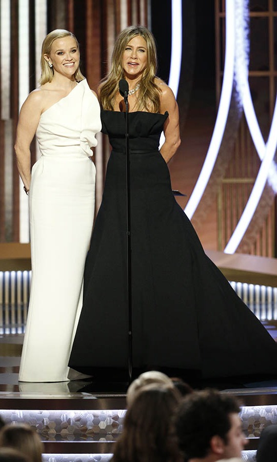 Seeing <a href=/tags/0/reese-witherspoon><strong>Reese Witherspoon</a></strong> and <a href=/tags/0/jennifer-aniston><strong>Jennifer Aniston</a></strong> present an award together was more than a <em>The Morning Show</em> reunion. It was also a <a href=/tags/0/friends><strong><em>Friends</strong></em></a> reunion! Reese played the younger sister of Jen's character <strong>Rachel</strong>.<p> Photo: © Paul Drinkwater/NBCUniversal Media, LLC via Getty Images