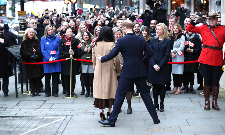 The duke and duchess were greeted by Janice and other Canada House staff, and said hello to royal watchers before heading inside. It was also great to see a Mountie outside, too!