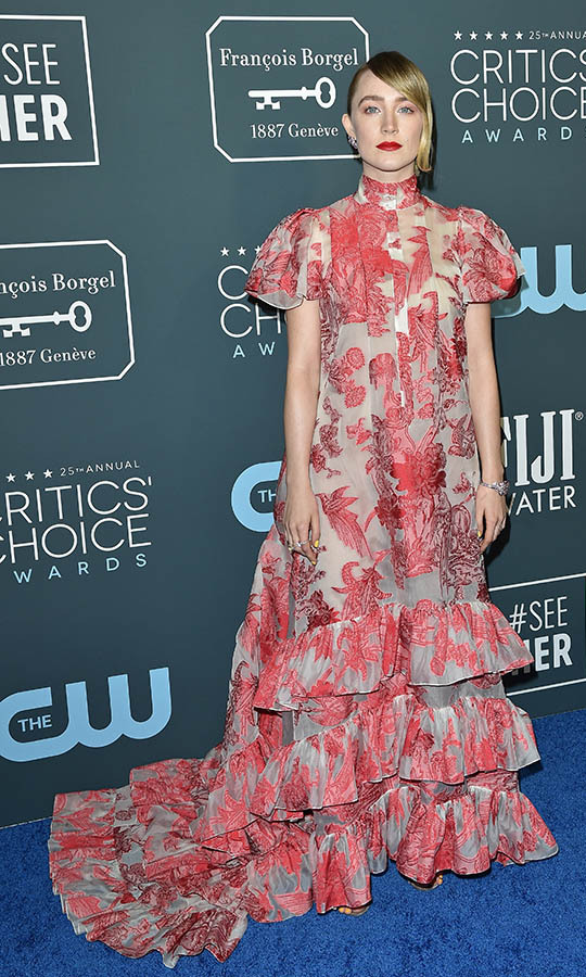 <a href=/tags/0/saoirse-ronan><strong>Saoirse Ronan</strong></a>'s patterned <a href=/tags/0/erdem><strong>Erdem</strong></a> dress was not to be missed, especially with its ruffled hem! <p>Photo: &copy; Axelle/Bauer-Griffin/FilmMagic