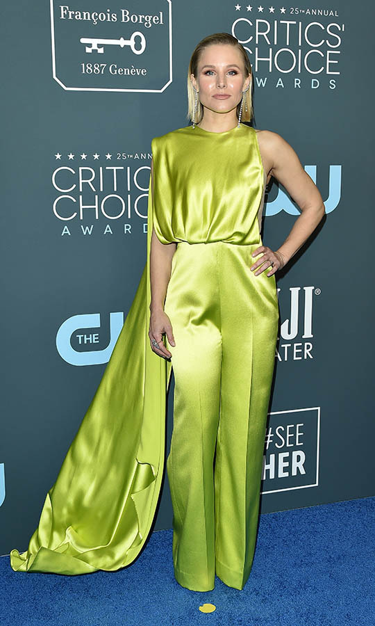 No one could miss <a href=/tags/0/kristen-bell><strong>Kristen Bell</a></strong> in this beautiful chartreuse <strong>Cong Tri</strong> ensemble featuring pants and a draped back! <p> Photo: &copy; Axelle/Bauer-Griffin/FilmMagic