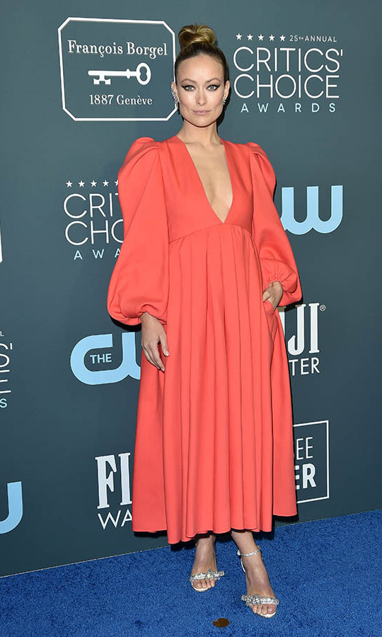 The Critics' Choice Awards red carpet was full of colour, including <a href=/tags/0/olivia-wilde><strong>Olivia Wilde</strong></a>'s coral <a href=/tags/0/valentino><strong>Valentino</strong></a> dress. <p> Photo: &copy; Axelle/Bauer-Griffin/FilmMagic