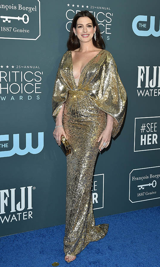 <a href=/tags/0/anne-hathaway><strong>Anne Hathaway</strong></a> lit up the awards show red carpet in a plunging <a href=/tags/0/versace><strong>Versace</strong></a> gown. <p>Photo: &copy; Axelle/Bauer-Griffin/FilmMagic