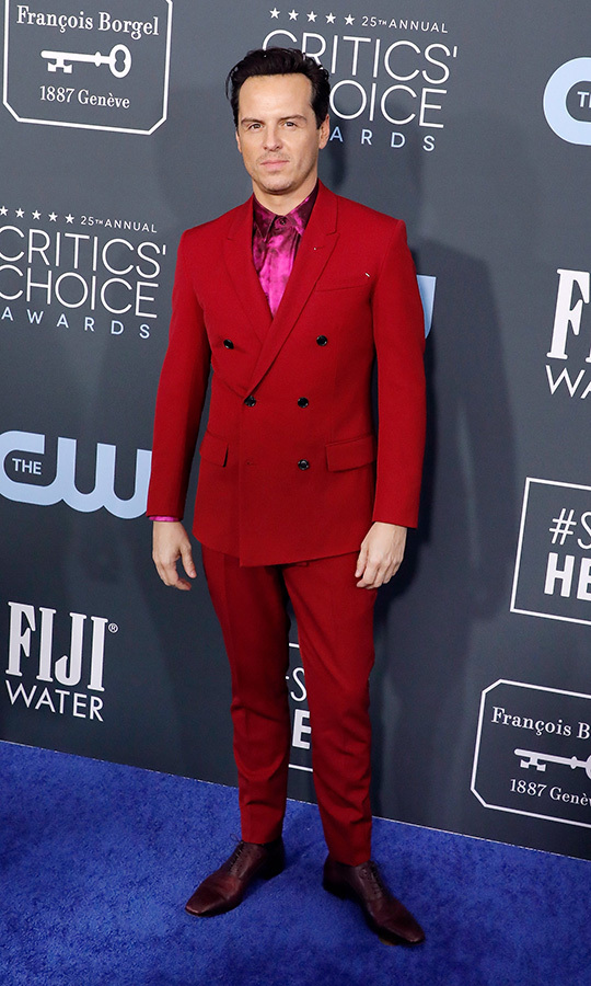 <a href=/tags/0/andrew-scott><strong>Andrew Scott</strong></a> brought the bold colour in a red suit with metallic pink shirt. <p>Photo: &copy; Taylor Hill/Getty Images