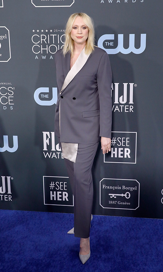 <a href=/tags/0/gwendoline-christie><strong>Gwendoline Christie</strong></a> sported a sleek grey and cream suit. <p>Photo: &copy; Taylor Hill/Getty Images