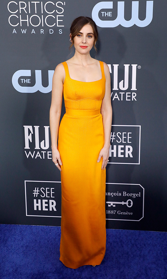 <a href=/tags/0/alison-brie><strong>Alison Brie</strong></a> was in the colour of the evening, marigold, thanks to her <strong><a href=/tags/0/brandon-maxwell>Brandon Maxwell</strong></a> dress. <p>Photo: &copy; Taylor Hill/Getty Images