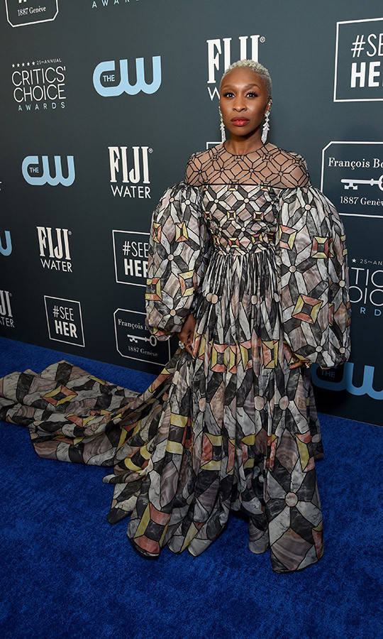 <a href=/tags/0/cynthia-erivo><strong>Cynthia Erivo</strong></a> stunned in a geometric <a href=/tags/0/fendi><strong>Fendi</strong></a> gown with billowing sleeves. <p> Photo: &copy; Michael Kovac/Getty Images for Champagne Collet