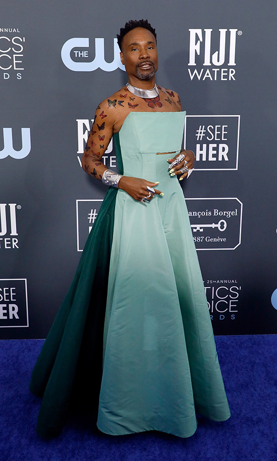 <a href=/tags/0/billy-porter><strong>Billy Porter</strong></a> had a magical moment in a  <strong>Hogan McLaughlin</strong> mint green gown with a neon manicure and colourful butterfly tattoos. The latter detail was to honour the transgender community. <p>Photo: &copy; Taylor Hill/Getty Images