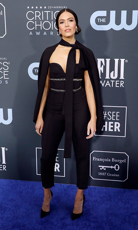 <a href=/tags/0/mandy-moore><strong>Mandy Moore</strong></a> traded in a dress for chic black coordinates from <a href=/tags/0/elie-saab><strong>Elie Saab</strong></a>. <p> Photo: &copy; Taylor Hill/Getty Images