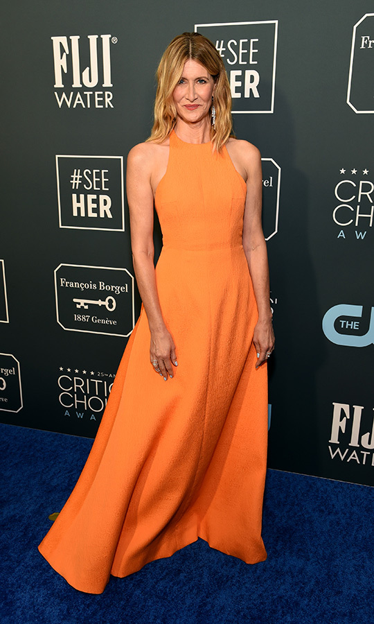 <a href=/tags/0/laura-dern><strong>Laura Dern</strong></a> brightened up the blue carpet with an orange <a href=/tags/0/emilia-wickstead><strong>Emilia Wickstead</strong></a> gown. <p> Photo: &copy; Michael Kovac/Getty Images for Champagne Collet