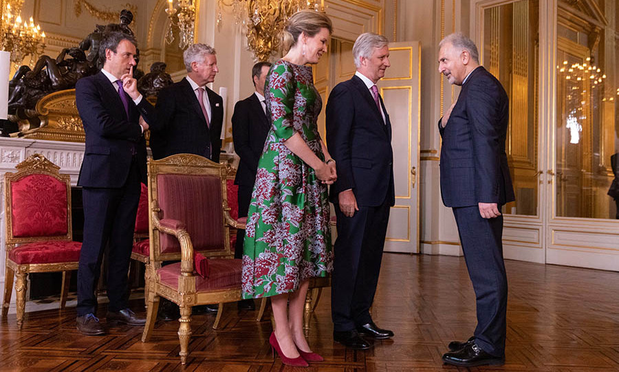 <a href=/tags/0/queen-mathilde><strong>Queen Mathilde</strong></a> wowed in a green and maroon printed dress when she welcomed Ambassador of the Islamic Republic of Iran <strong>Masoud Gharanfoli</strong> during a New Year's Reception for Heads of Foreign Diplomatic Missions to Belgium at the Royal Palace on Jan. 14. <p> Photo: &copy; Olivier Matthys/Getty Images