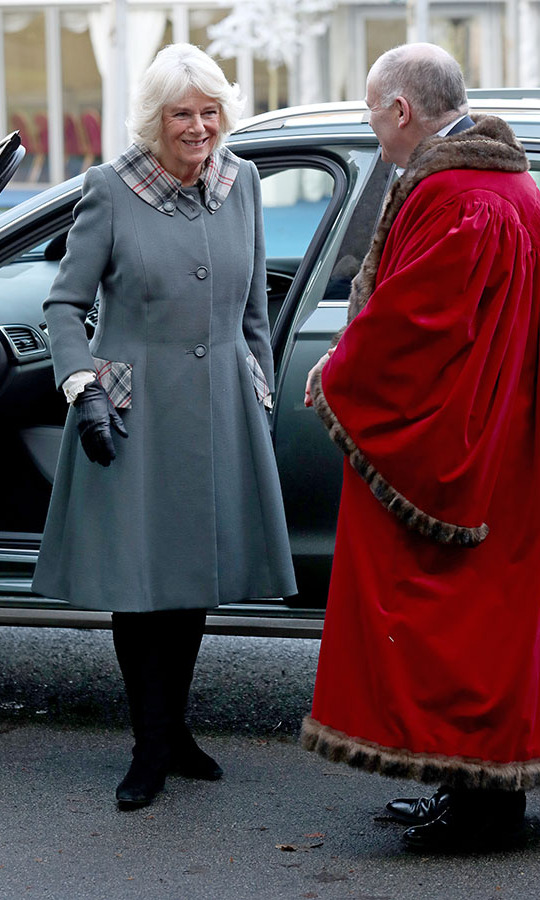 The <strong><a href=/tags/0/camilla-parker-bowles>Duchess of Cornwall</a></strong> (who is known as the Duchess of Rothesay while in Scotland!) kept warm in a stylish grey coat with contrasting check pockets during an engagement to University of Aberdeen on Jan. 14. <p> Photo: &copy; Andrew Milligan/PA Images via Getty Images
