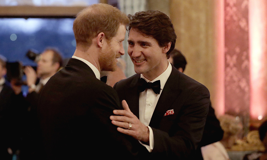 Prince Harry speaks with Justin Trudeau at the Queen's Dinner for the Commonwealth Heads of Government Meeting (CHOGM) at Buckingham Palace on April 19, 2018. Photo: © Matt Dunham - WPA Pool/Getty Images