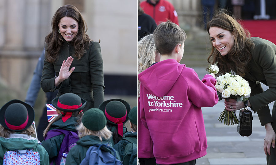 "<strong>By Heather Cichowski</strong></p><p><strong> <a href=""https://ca.hellomagazine.com/tags/0/kate-middleton"">Duchess Kate</a></strong> and <strong><a href=""https://ca.hellomagazine.com/tags/0/prince-william"">Prince William</a></strong> returned to work <strong></strong> on Jan. 15 in Bradford, West Yorkshire. For <strong><a href=""https://ca.hellomagazine.com/royalty/02020010854417/kate-middleton-prince-william-first-joint-engagements-2020"">their first royal engagement of 2020</a>, </strong>the couple had a busy day. They  visited the Khidmat Centre, where they were presented with <a href=""https://ca.hellomagazine.com/royalty/02020011554572/kate-middleton-prince-william-cake-bradford-khidmat-centre/""><strong>an incredible cake</a></strong>, and <a href=""https://ca.hellomagazine.com/royalty/02020011554559/kate-middleton-prince-william-visit-bradford-west-yorkshire"" target=""_blank""><strong>made smoothies</strong></a> at a local British-Asian restaurant while hearing about their community work. <p>Despite the full schedule, the <a href=""https://ca.hellomagazine.com/tags/0/prince-william-and-kate""><strong>Duke and Duchess of Cambridge</strong></a> made time to greet royals fans, including young well-wishers who lined the streets to see the couple.</p><p><strong>Scroll through the gallery (or click through if you're on desktop) to see Duchess Kate's adorable interactions with children in Bradford!
