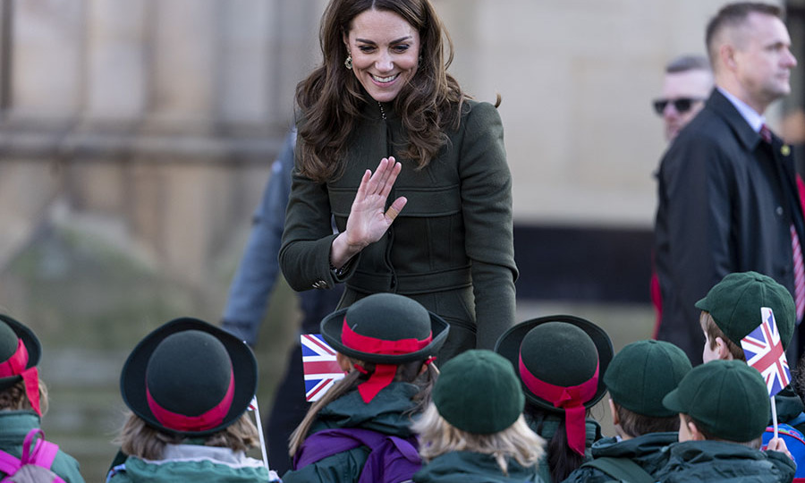 Duchess Kate waved at uniformed schoolchildren during her and William's walkabout. <p> Photo: © Mark Cuthbert/UK Press via Getty Images